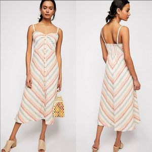 NWT Free People Striking Stripe Linen Midi Dress